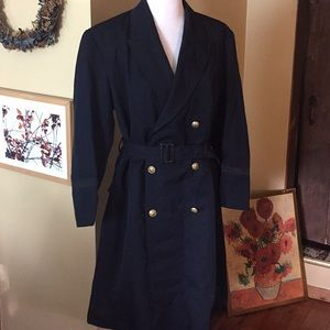VINTAGE 50's sz XL Japanese Naval BELTED Trench